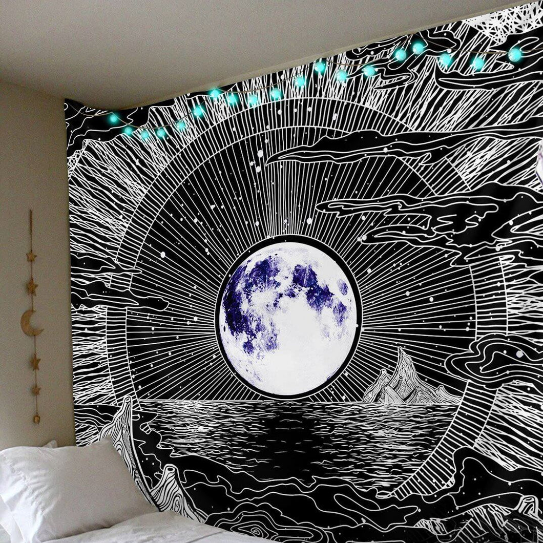 Digital HD Almighty Moon Polyester Tapestry(Twin((72x41 Inches)(183x104cms))
