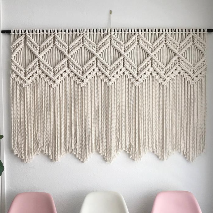 "Diamond in Rough Macrame Wall Hanging (24""x16""inches)"