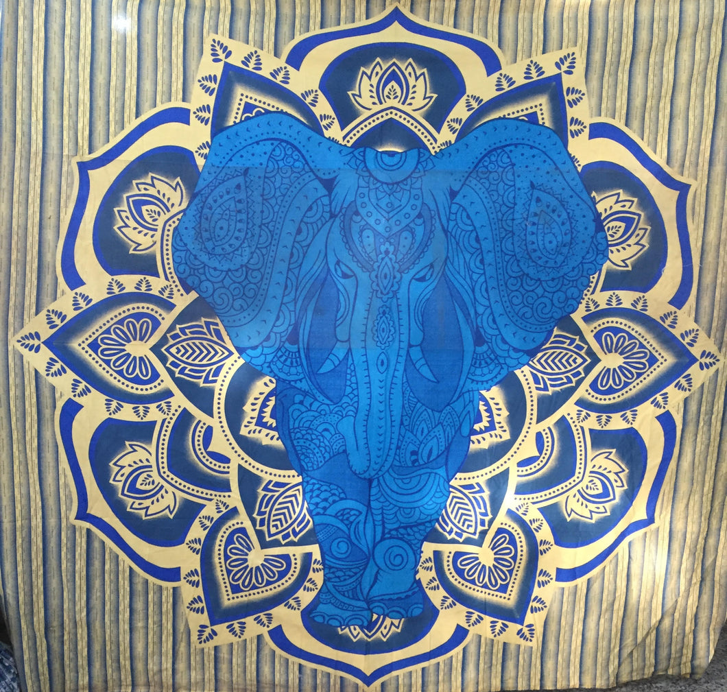 Blue Golden Front Elephant Tapestry