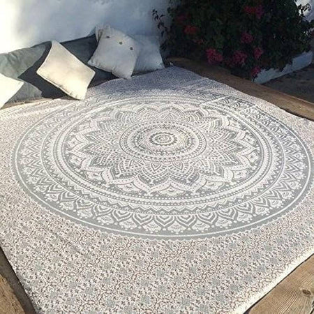 Indian Traditional Mandala Hippie Wall Hanging, Cotton Tapestry Ombre Bohemian Bedspread (Queen(84x90 Inches)(215x230 Cm), /Silver)
