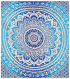 Indian Hippie Ethnic Bohemian Psychedelic Blue Ombre Mandala Handmade Tapestry - Bless International - Tapestries & Handicraft Exporter & Retailer - 3