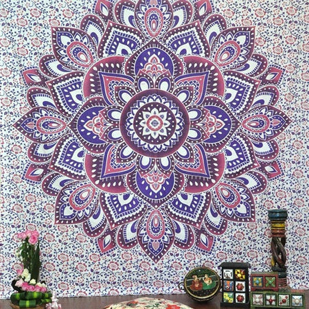 Indian Blue Purple Hippie Ethnic Bohemian Psychedelic Ombre Mandala Handmade Tapestry - Bless International - Tapestries & Handicraft Exporter & Retailer - 4