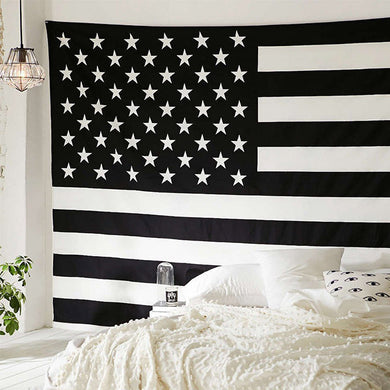 American Flag Black and  White Hippie Ethnic Bohemian Psychedelic Handmade Tapestry - Bless International - Tapestries & Handicraft Exporter & Retailer - 1