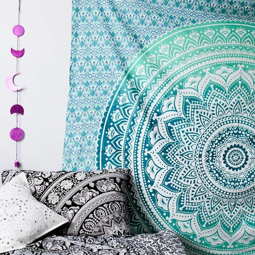 Indian Green Hippie Mandala Bohemian Psychedelic Handmade Tapestry - Bless International - Tapestries & Handicraft Exporter & Retailer - 1