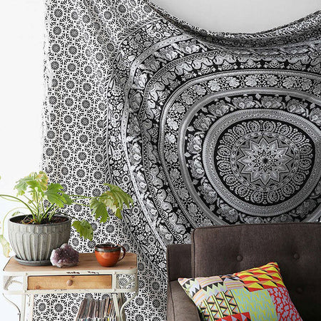 Floral Elephant Tapestry