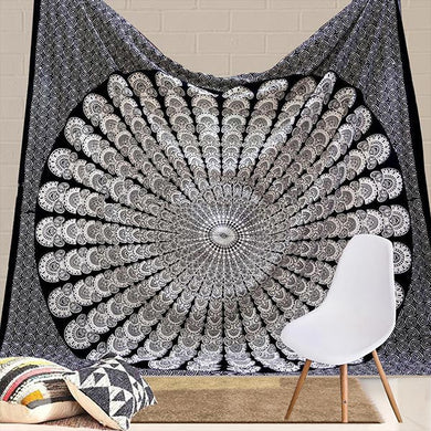 Indian Peacock Black White Hippie Ethnic Bohemian Psychedelic Mandala Large Handmade Tapestry - Bless International - Tapestries & Handicraft Exporter & Retailer - 1