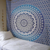 Indian Hippie Ethnic Bohemian Psychedelic Blue Ombre Mandala Handmade Tapestry - Bless International - Tapestries & Handicraft Exporter & Retailer - 1