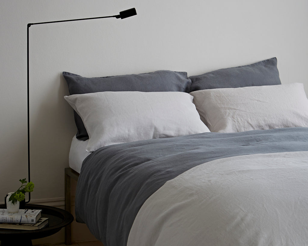 Lens Charcoal Bed Linen The Linen Works London