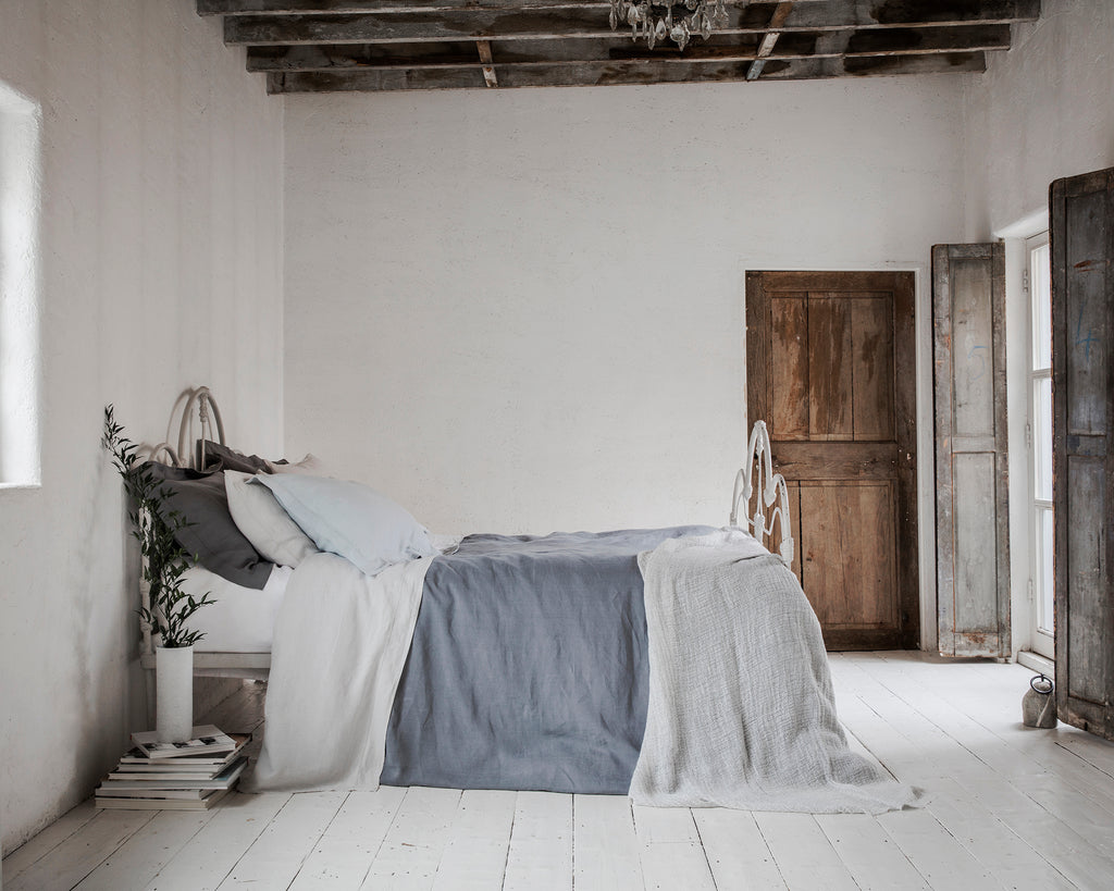 Pillowcase Oxford Charcoal | Pillowcase Housewife Moustier Duck Egg | Flat Sheet Toulon Dove Grey | Duvet Cover Lens Charcoal | Throw Pale Grey