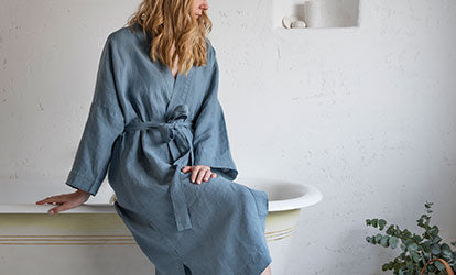Blue Linen Bathrobe and Linen Dressing Gown