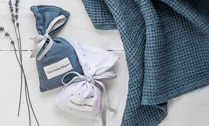 Blue and White Linen Lavender Bags with Waffle Towel