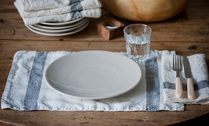 Charcoal Stripe Washed Linen Placemat with Plate