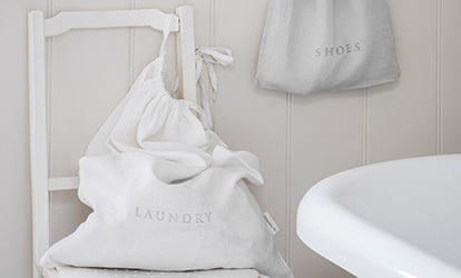 White Laundry Bag and Dove Grey Shoe Bag