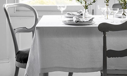 White Washed Linen Tablecloth With Linen Napkins