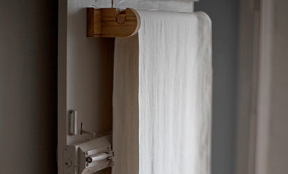Chalk Linen Roller Towel on Wooden Roller Towel Rail