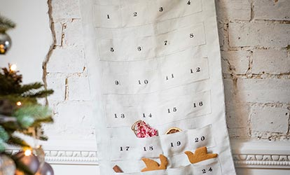 Dove Grey Linen Advent Calendar on wall