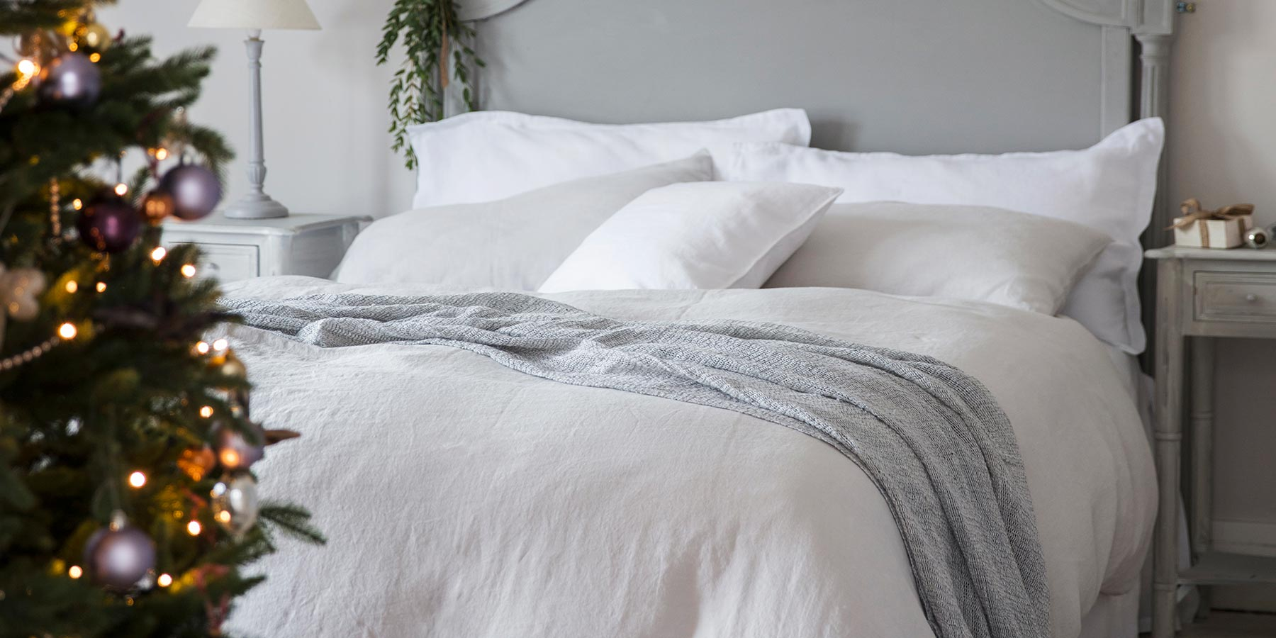 Dove Grey and White Bed Linen with Christmas Tree