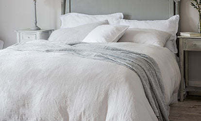 Dove Grey and White Bed Linen