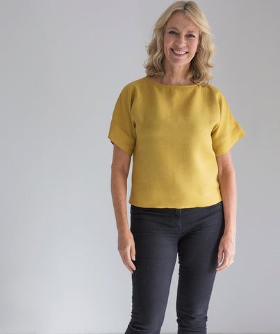 Mustard Linen Short Sleeve Top