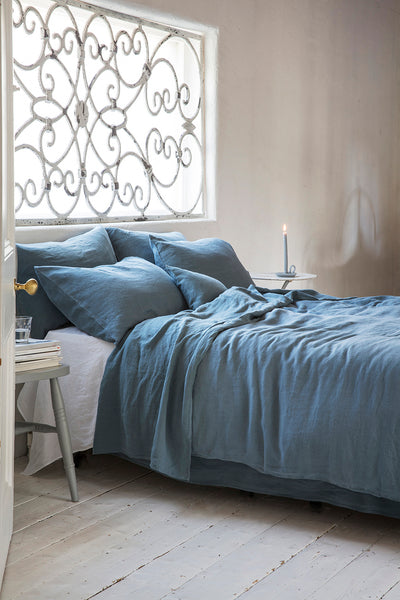 Parisian Blue Linen Duvet Cover