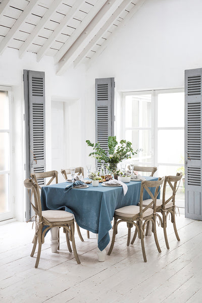 Parisian Blue Linen Tablecloth Hemstitch Collection