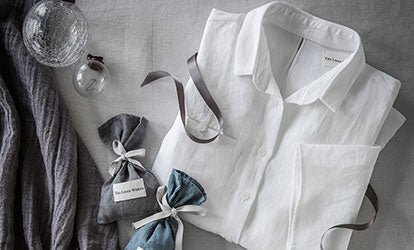 Slate Linen Scarf and White Linen Shirt Christmas Gifting with Baubles and Lavender Bags