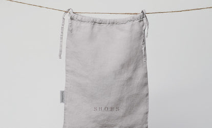 Grey Linen Shoe Bag