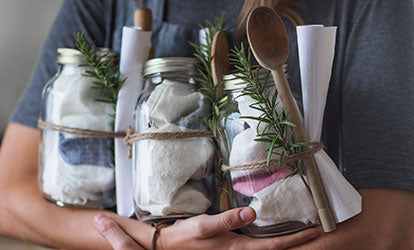 Linen Tea Towels in Christmas Gift Jars