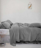 lifestyle| Lens Charcoal Linen Pillowcase - The Linen Works (4463618588749)
