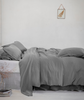 lifestyle| Lens Charcoal Linen Pillowcase - The Linen Works