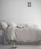 lifestyle| Toulon Dove Grey Linen Flat Sheet - The Linen Works