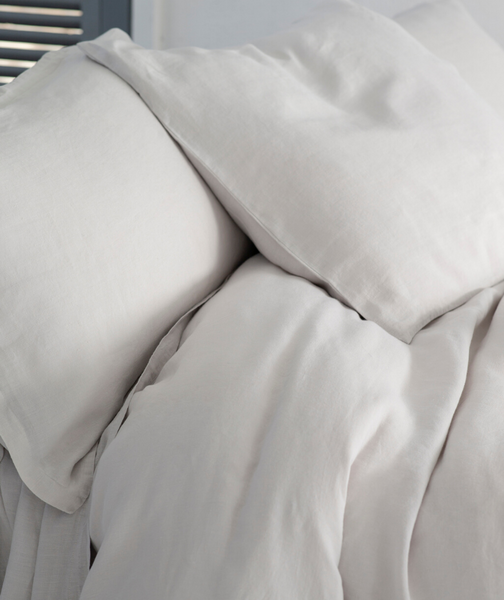Toulon Dove Grey Linen Pillowcase - The Linen Works