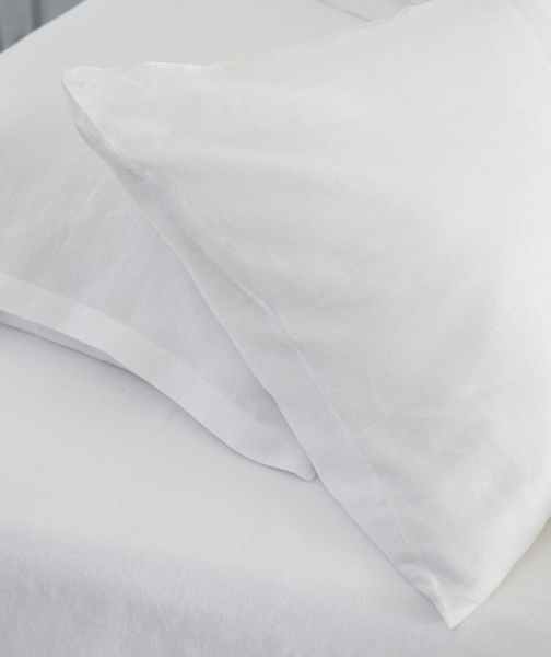 Classic White Linen Pillowcase - The Linen Works (217356894218)