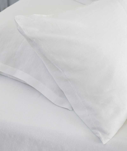 Classic White Linen Pillowcase - The Linen Works (4463849635917)