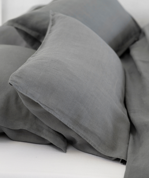 Lens Charcoal Linen Pillowcase - The Linen Works