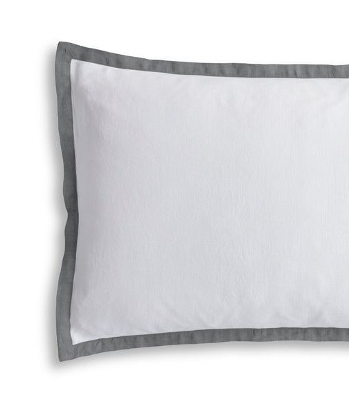 White Pillowcase with Charcoal Border