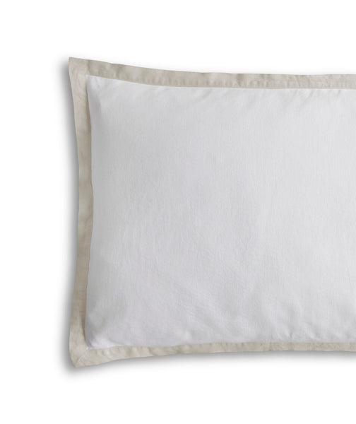 White Linen Pillowcase Oxford with Ecru Border