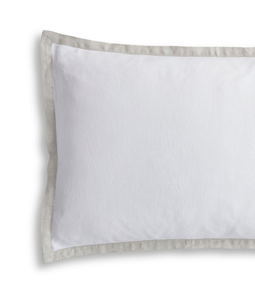 White Linen Pillowcase Oxford with Dove Grey Border