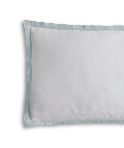 White Linen Pillowcase with Duck Egg Border
