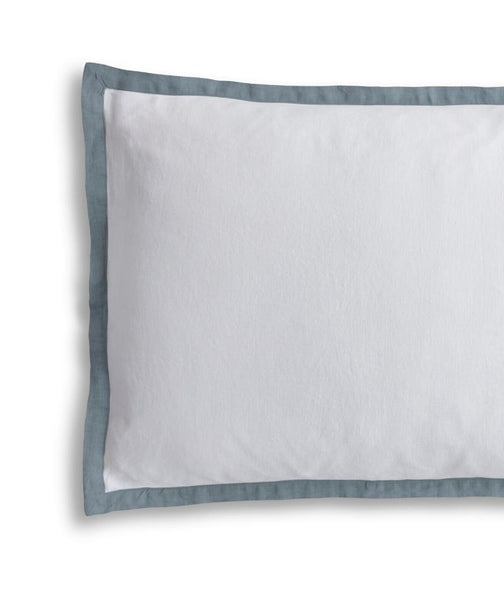 White Linen Pillowcase Oxford with Parisian Blue Border