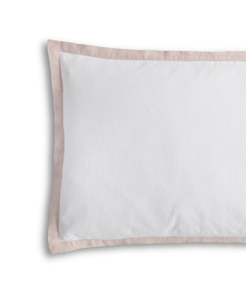 White Linen Pillowcase Oxford White with Rose Border