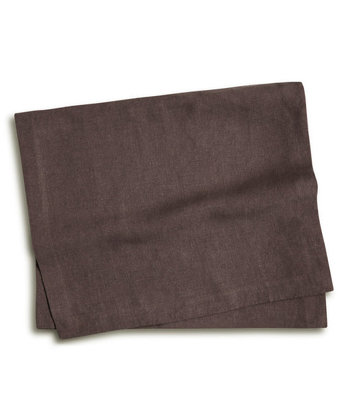 Aubergine Linen Table Runner Mitered Hem Collection - The Linen Works (12194379530)