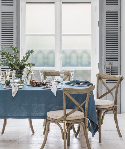 Parisian Blue Linen Tablecloth Mitered Hem Collection - The Linen Works