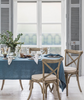 lifestyle| Parisian Blue Linen Tablecloth Mitered Hem Collection - The Linen Works