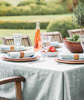 lifestyle| Duck Egg Linen Tablecloth Mitered Hem Collection - The Linen Works