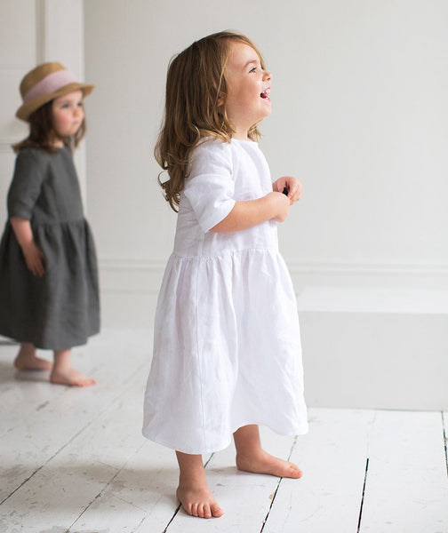 White Linen Girl's Dress - The Linen Works (217411387402)