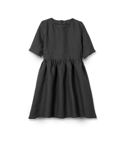 Charcoal Linen Girl's Dress - The Linen Works (217426952202) (4469641904205)