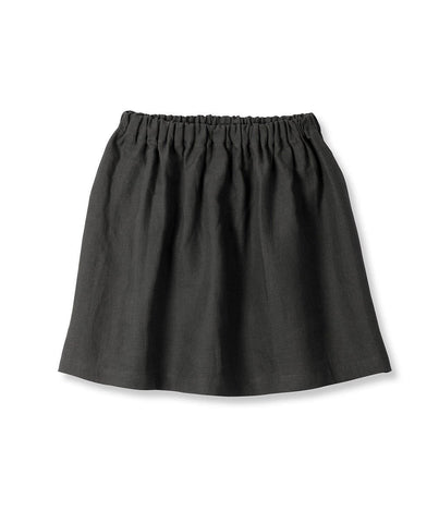 Charcoal Linen Girl's Skirt - The Linen Works (217271926794) (4469630238797)