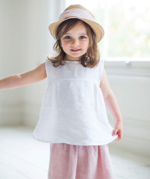 White Linen Girl's Top - The Linen Works (239175565322) (4469579120717)