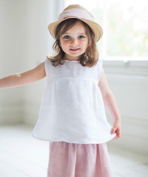 White Linen Girl's Top - The Linen Works (239175565322)